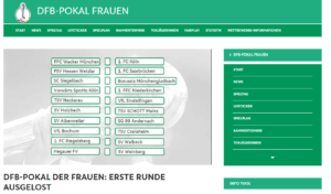 DFP-Pokal Frauen (Screenshot der DFB Homepage)